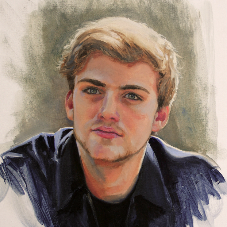 Portrait of a young man, done in oils