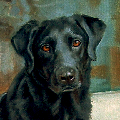 Oil portrait of a black lab